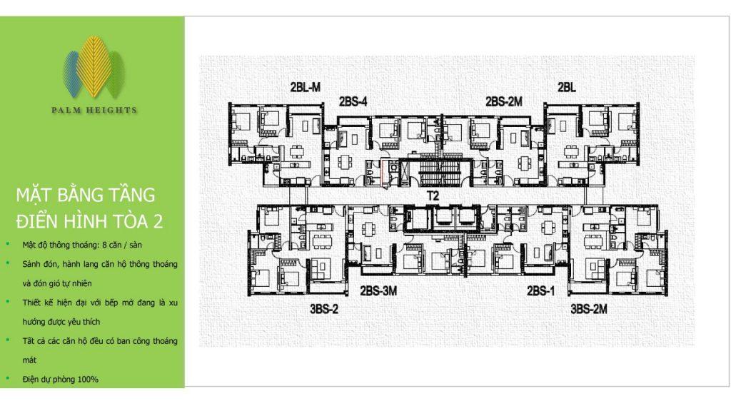 Mặt bằng, vị trí căn hộ 2 phòng ngủ Palm city
