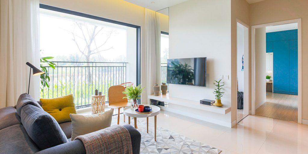 Phòng khách căn hộ Palm City 2 Phòng Ngủ dự án Palm Heights View rất đẹp