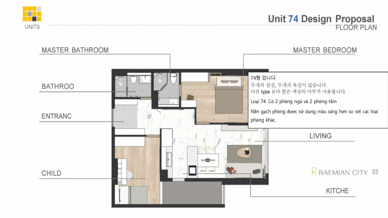 Layout mặt bằng thiết kế nội thất căn hộ Raemian city