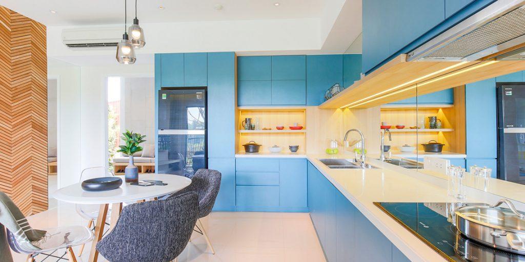 Bếp và phòng ăn căn hộ Palm City 2 Phòng Ngủ dự án Palm Heights thiết kế tinh tế, sạch sẽ và tiện lợi. Bếp rộng rãi.