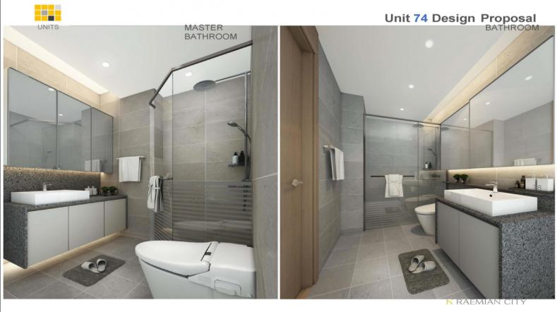 Thiết kế nội thất căn hộ Raemian city bên trong phòng tắm