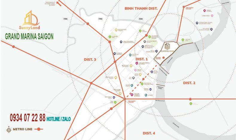 Vị trí Grand Marina Saigon Quận 1 Mariot